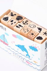 Wooden Rubber Stamp Set - marine graffiti