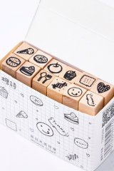 Wooden Rubber Stamp Set - afternoon tea