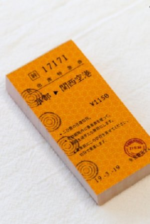 Photo1: Japanese Message Notes Memo - train ticket - kyoto