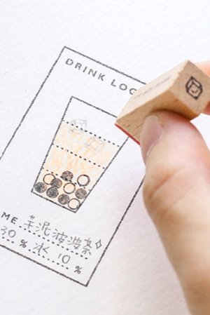 Photo2: Wooden Rubber Stamp - planner series - Drink record