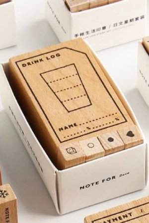 Photo1: Wooden Rubber Stamp - planner series - Drink record