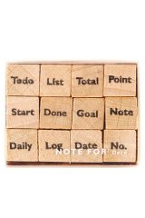 Wooden Rubber Stamp - planner series - Mark Label