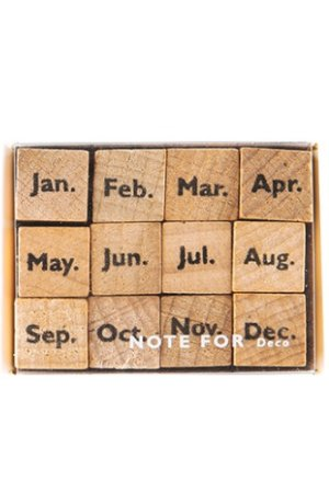 Photo1: Wooden Rubber Stamp - planner series - Month