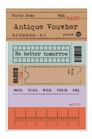 Photo1: Retro Style Paper Planner Sticky Notes Memo - ticket - ruler