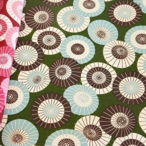 Photo1: Japanese Cotton Traditional Fabrics - Half Yard - Umbrella Patterns GREEN