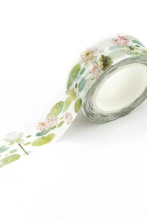Photo1: Kawaii Washi Masking Tape - Lotus Pond