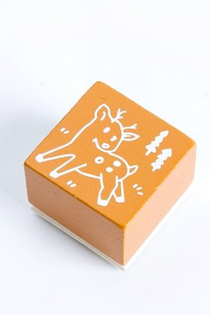 Photo1: Wooden Rubber Stamp - Christmas - reindeer