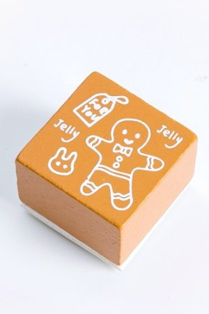Photo1: Wooden Rubber Stamp - Christmas - ginger