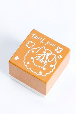Photo1: Wooden Rubber Stamp - Christmas - wreath