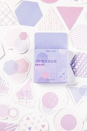 Photo1: Kawaii School Office Supplies Planner Sticker Box - Color - Purple Dream