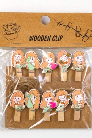 Photo1: Kawaii Wooden Clip - mermaid