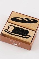Wooden Rubber Stamp - bread shop of street corner - French toast