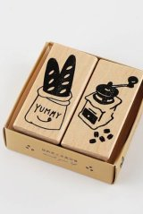 Wooden Rubber Stamp - bread shop of street corner - coffee time