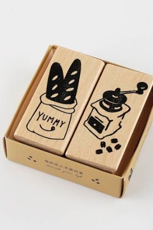 Photo1: Wooden Rubber Stamp - bread shop of street corner - coffee time