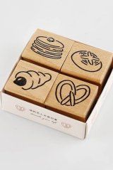 Wooden Rubber Stamp - bread shop of street corner - sweets