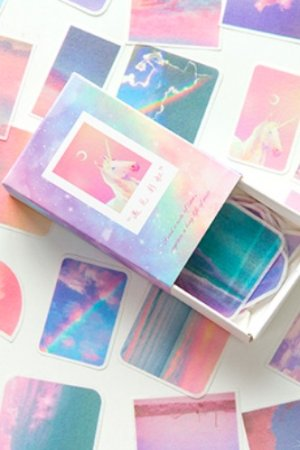 Photo1: Kawaii Match Box Bujo Journal Sticker Set - lovely animals - unicorn rainbow