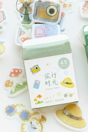 Photo1: Lovely Planner Paper Label Sticker Box - Travel time