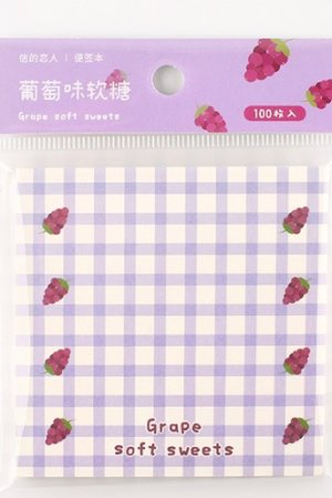 Photo1: Kawaii Paper Planner Sticky Notes Memo - Sweet Gingham - grape