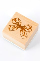 Wooden Rubber Stamp - Girl - Bow