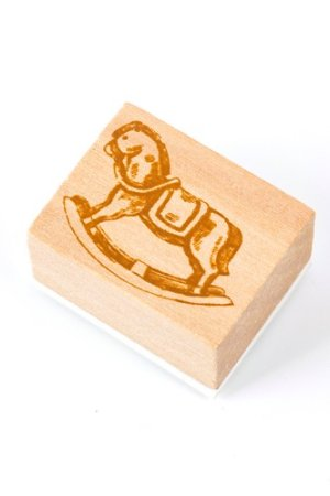 Photo1: Wooden Rubber Stamp - Girl - Trojan horse