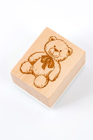 Photo1: Wooden Rubber Stamp - Girl - bear