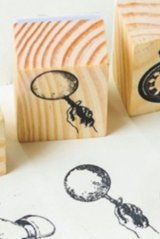 Wooden Rubber Stamp - Retro Planner - Magnifier