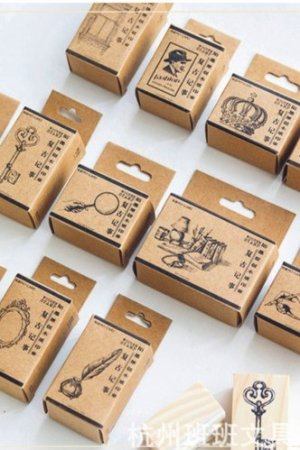 Photo2: Wooden Rubber Stamp - Retro Planner - Gentleman