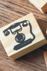 Wooden Rubber Stamp - Retro Planner - Telephone