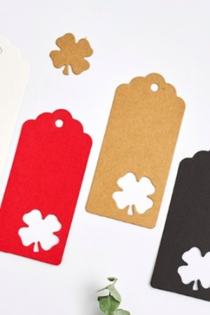 Photo1: Kraft paper custom tags gift tags product tags Handmade tags DIY tags - Clover
