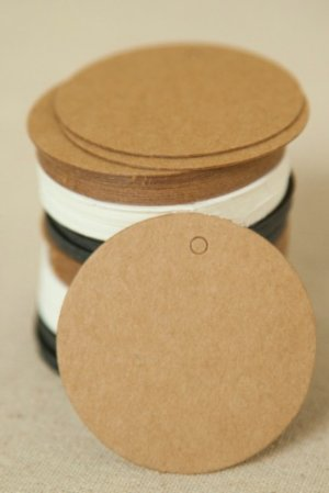 Photo1: Kraft paper custom tags gift tags product tags Handmade tags DIY tags - Round