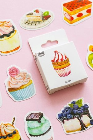 Photo1: Lovely Planner Paper Label Sticker Box - Sweet Cake