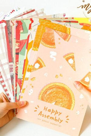 Photo1: Kawaii DIY Supplies Material Decorative Paper L Size - Happy Assembly - Waffles