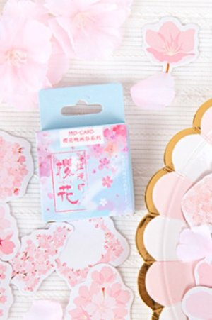 Photo1: Lovely Planner Paper Label Sticker Box - Cherry Blossom Festival - view time