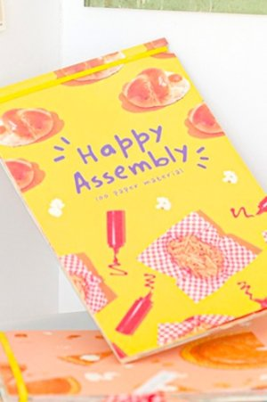 Photo1: Kawaii DIY Supplies Material Decorative Paper L Size - Happy Assembly - Hamberg
