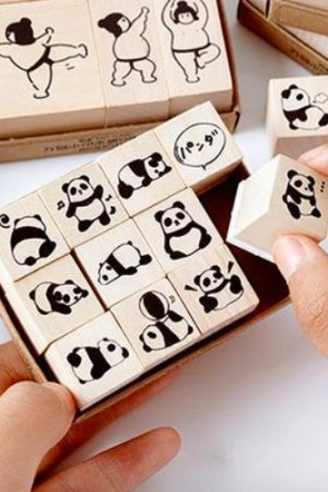 Photo1: Wooden Rubber Stamp - All things - panda fat