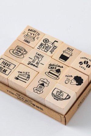 Photo1: Wooden Rubber Stamp - All things - coffee life
