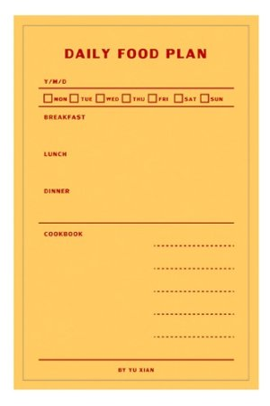 Photo1: Japanese Message Scheduler Notes Memo - Memorial Life - Daily Food Plan