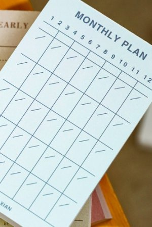 Photo1: Japanese Message Scheduler Notes Memo - Memorial Life - Monthly Plan