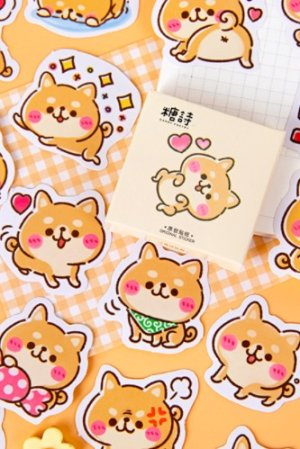 Photo1: kawaii Planner Paper Label Sticker Box - Shiba Dogs