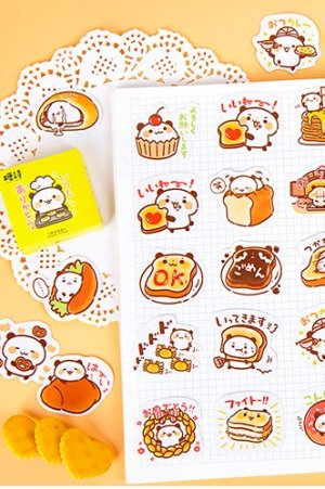Photo1: kawaii Planner Paper Label Sticker Box - Panda Bakery Cook
