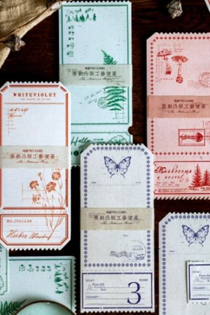 Photo1: Vintage Style Office Supplies Memo Notes - Natural Plant