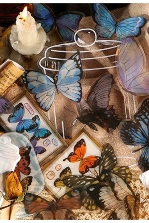 Photo1: DIY Material Planner Label Sticker Sack Flake - Mountain Plants - Butterfly