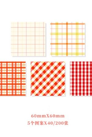 Photo1: Kawaii Office Supplies Memo Notes - Gingham Party - Strawberry 200 sheets