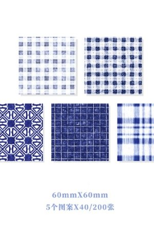 Photo1: Kawaii Office Supplies Memo Notes - Gingham Party - Blue Night 200 sheets