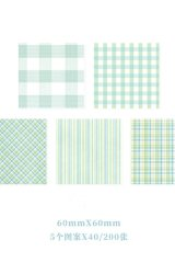 Kawaii Office Supplies Memo Notes - Gingham Party - Mint 200 sheets