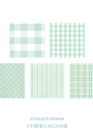 Photo1: Kawaii Office Supplies Memo Notes - Gingham Party - Mint 200 sheets