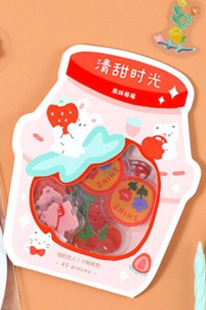 Photo1: Kawaii Planner Bujo Sticker Sack - Sweet Time - fruity strawberry