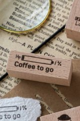 Lovely Wooden Rubber Stamp - Coffee - Coffee to go