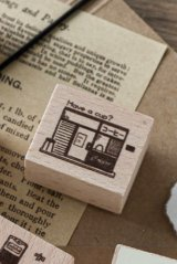 Lovely Wooden Rubber Stamp - Coffee - Coffee Shop