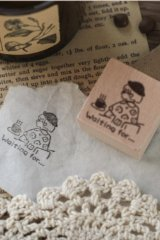 Lovely Wooden Rubber Stamp - Coffee - Waiting For
